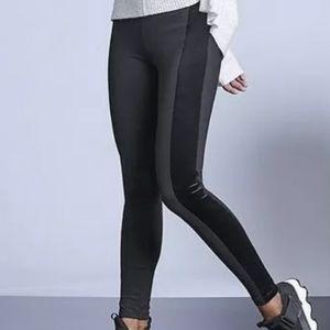 Athleta Metro Tux Velvet Stripe Black Leggings